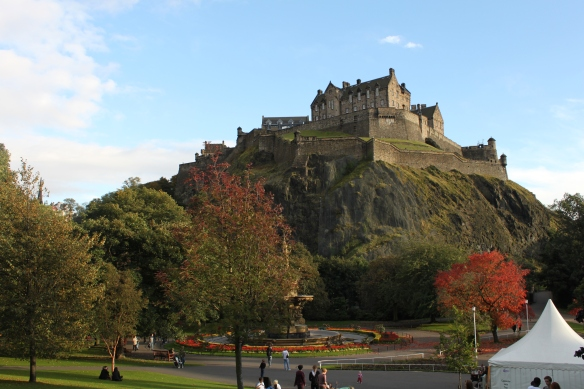 Edinburgh Castle from across the Princes Street Gardens