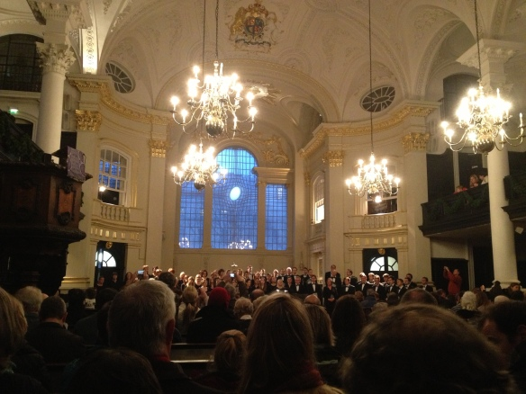 The sanctuary of St Martin in the Fields during a Christmas concert.