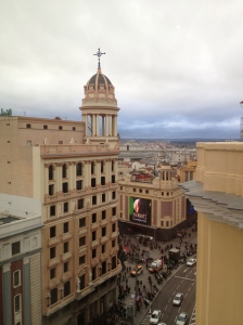 Looking over the Gran Via-- busy shopping street in Madrid.