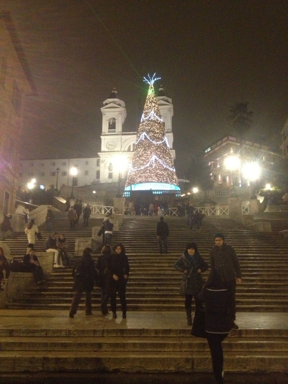 The Spanish Steps wearing Christmas.