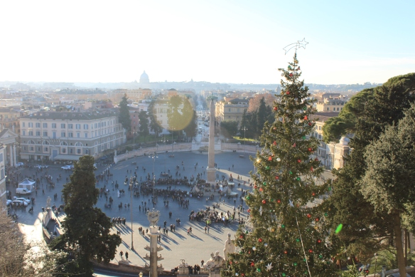 Looking down on Piazza del Popolo from Borghese Gardens.