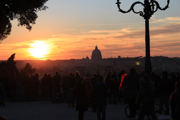 St. Peter's at sunset from the Borghese Gardens.