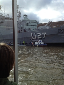 Cruising past the HMS Belfast-- if you're very lucky, the officers on deck will wave, as they did that day to the 3rd graders!