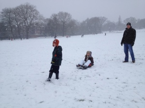 Hampstead Heath in snow.