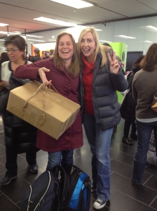 "Patricia and Kelli transporting the ""Sketchy Box"" to Bratislava:)"